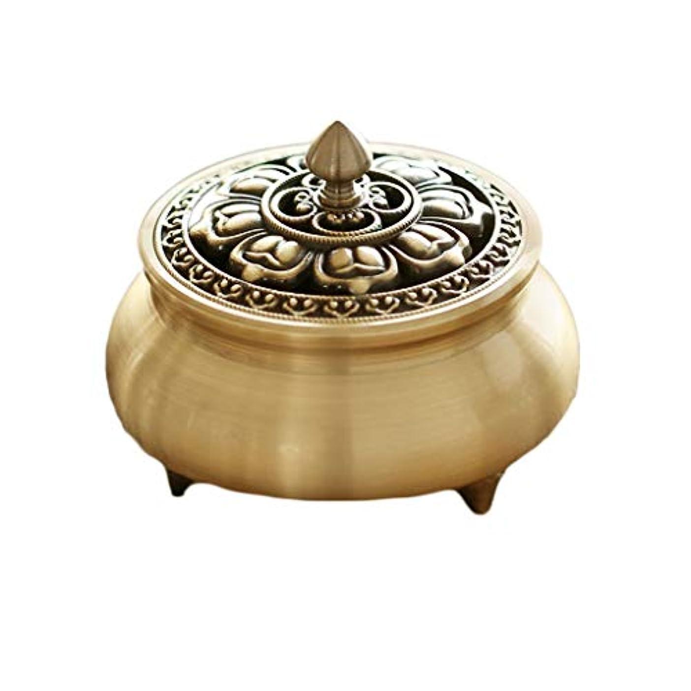 芳香器?アロマバーナー 純粋な銅香炉ホームアンティーク白檀用仏寒天香炉香り装飾アロマセラピー炉 アロマバーナー (Color : Brass)