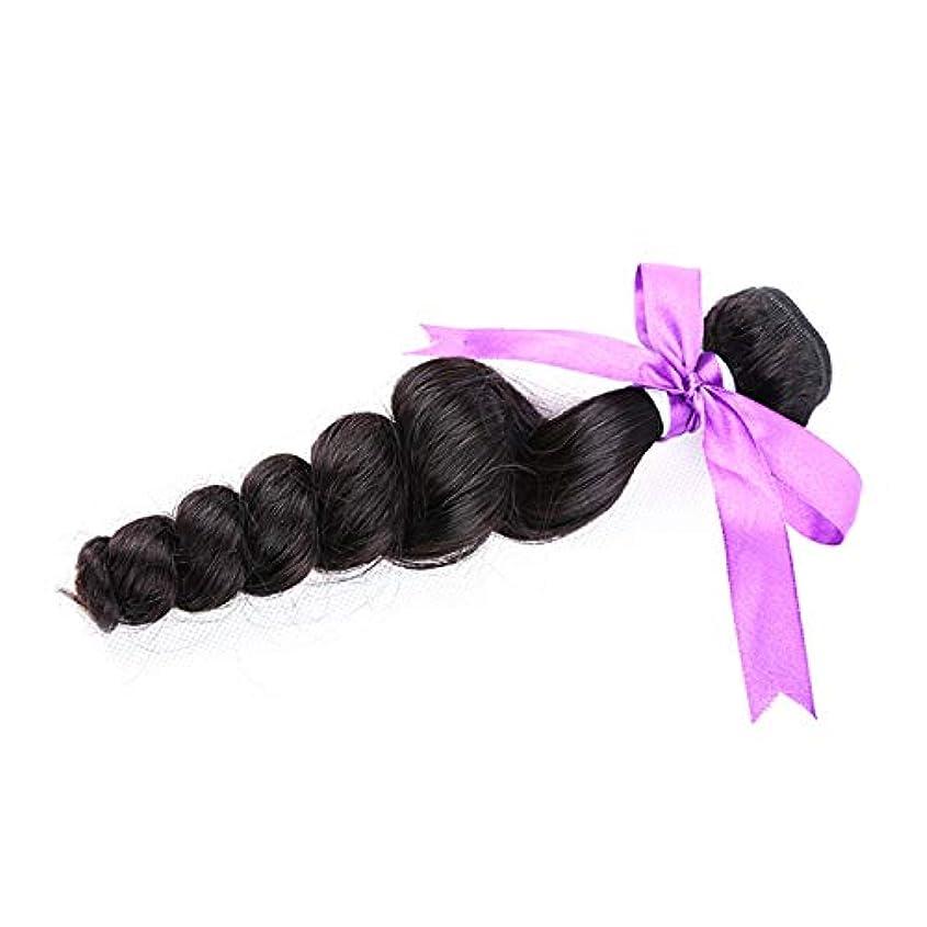 ヘアウィッグブラジルルースウェーブ100%人毛バンドルナチュラルカラーノンレミーヘア1個 (Stretched Length : 26inches)