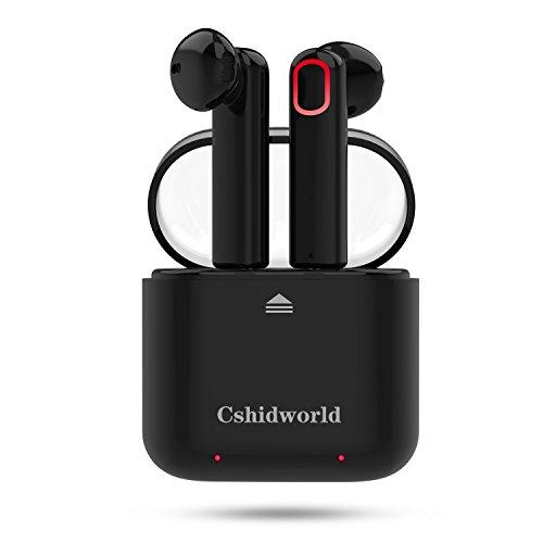 Cshidworld 完全ワイヤレスイヤホン ヘッドセット Bluetooth イヤホン Bluetooth4.2 高音質 スポーツ ヘッドセット ワイヤレス ヘッドフォン マイク内蔵 通話可 無線 防汗 防滴 左右分離型 片耳&両耳両対応 超軽量 充電式収納ケース iPhone Android 対応 G11 (ブラック)
