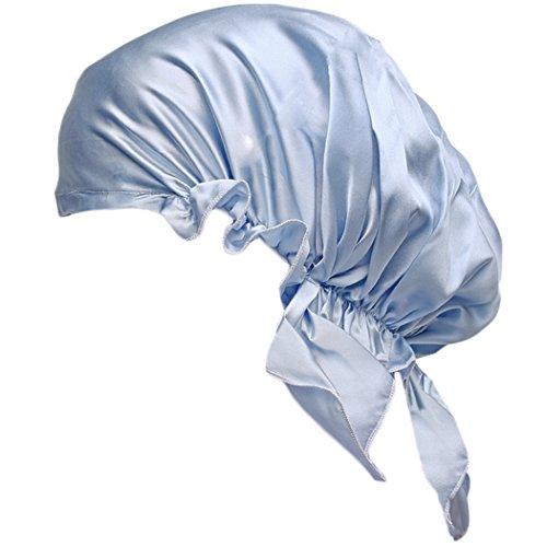 Labonida 19匁 ナイトキャップ 100%シルク 三角 お休みキャップ 就寝用帽子 枝毛防止 リボン付き 調整可