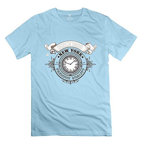 永航 男装 ニューヨーク時計のロゴ シャツ 半袖 丸首