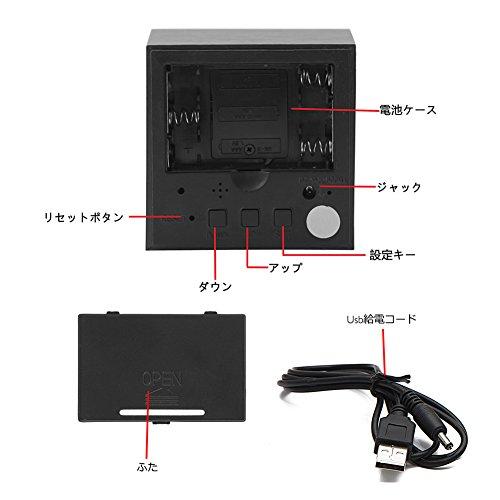 三つタンポポ 置き時計 デジタル おしゃれ 木製 目覚まし時計 音声感知 カレンダー 温度 表示 LED 木目調 多機能 アラーム 大音量 USB給電 (竹白い)