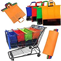 New 4 Pieces Reusable Supermarket Shopping Cart Bags Organizer Set