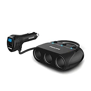 PHILIPS 3連 シガーソケット 車載充電器 分配器 USBポート搭載 カーチャージャー 増設 独立スイッチ 12V/24V対応 電圧計 120W 粘着ステッカー付き 1年保証