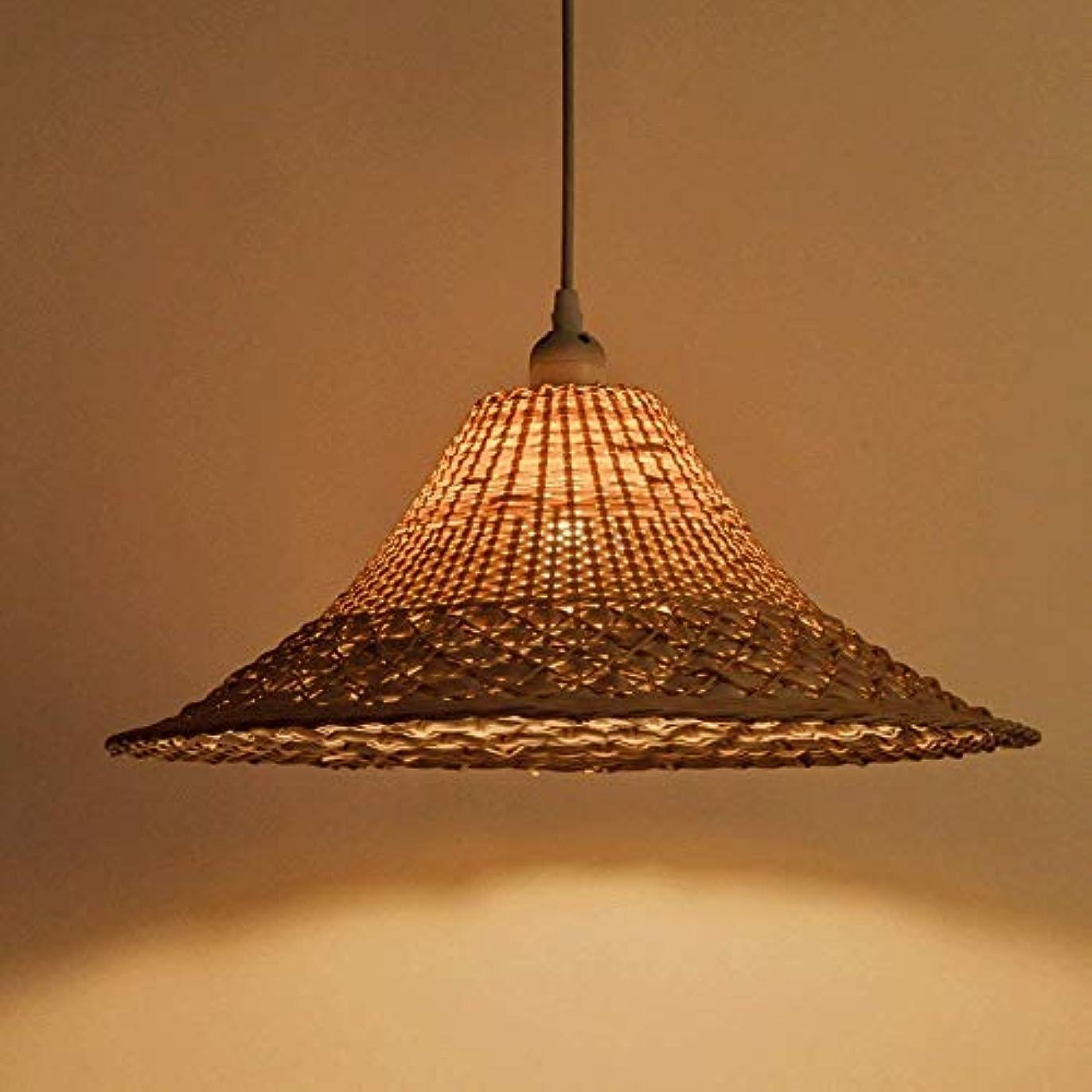ミルク見かけ上密度ZXTクリエイティブな竹製のストロー帽子シャンデリアのシングルヘッドレトロ手織りの麦わら帽子のバーカフェレストランの装飾ランプ