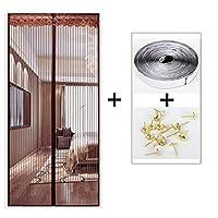 HUYYA 磁気カーテン ドア、頑丈な防虫網ドア 磁気スクリーンセルフシールベルクロアンチバグ&昆虫,Brown_48x88in/120x220CM