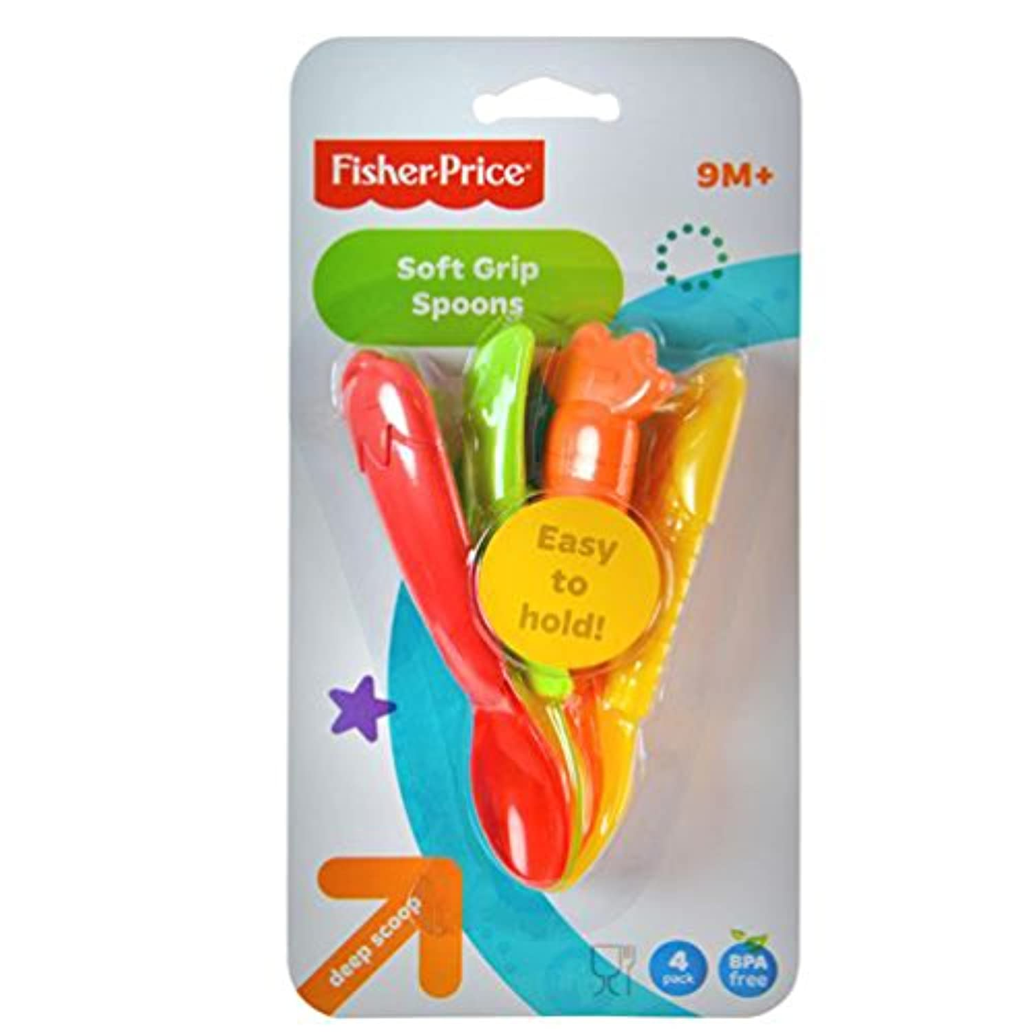 Fisher-Price Soft Grip Baby Spoons (Deep Scoop 4 pack) by Fisher-Price