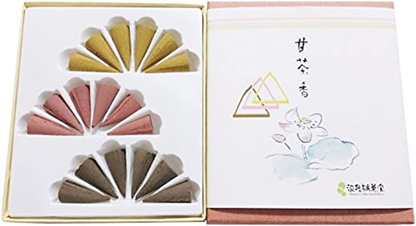 メロドラマティック階層スクラップブック淡路梅薫堂のお香セット 詰め合わせ 柔和慈悲沈香甘茶香 円錐 18個入( コーンタイプ 各6個 ) 日本製 #50 gifts incense cones japanese