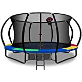Trampoline 14ft 16ft Kids Indoor Outdoor Plum Exercise Trampolines with Enclosure Basketball Hoop Everfit