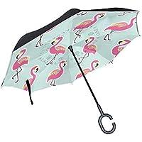 逆さ傘 逆折り式傘 車用 日傘 長傘 フラミンゴ 鳥 UVカット 手離れC型手元 撥水加工 晴雨兼用 耐風 124センチ