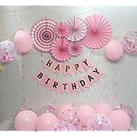 誕生日 風船 飾り付け ピンク ペーパーフラワー 風船飾り バルーンセット ペーパーファン