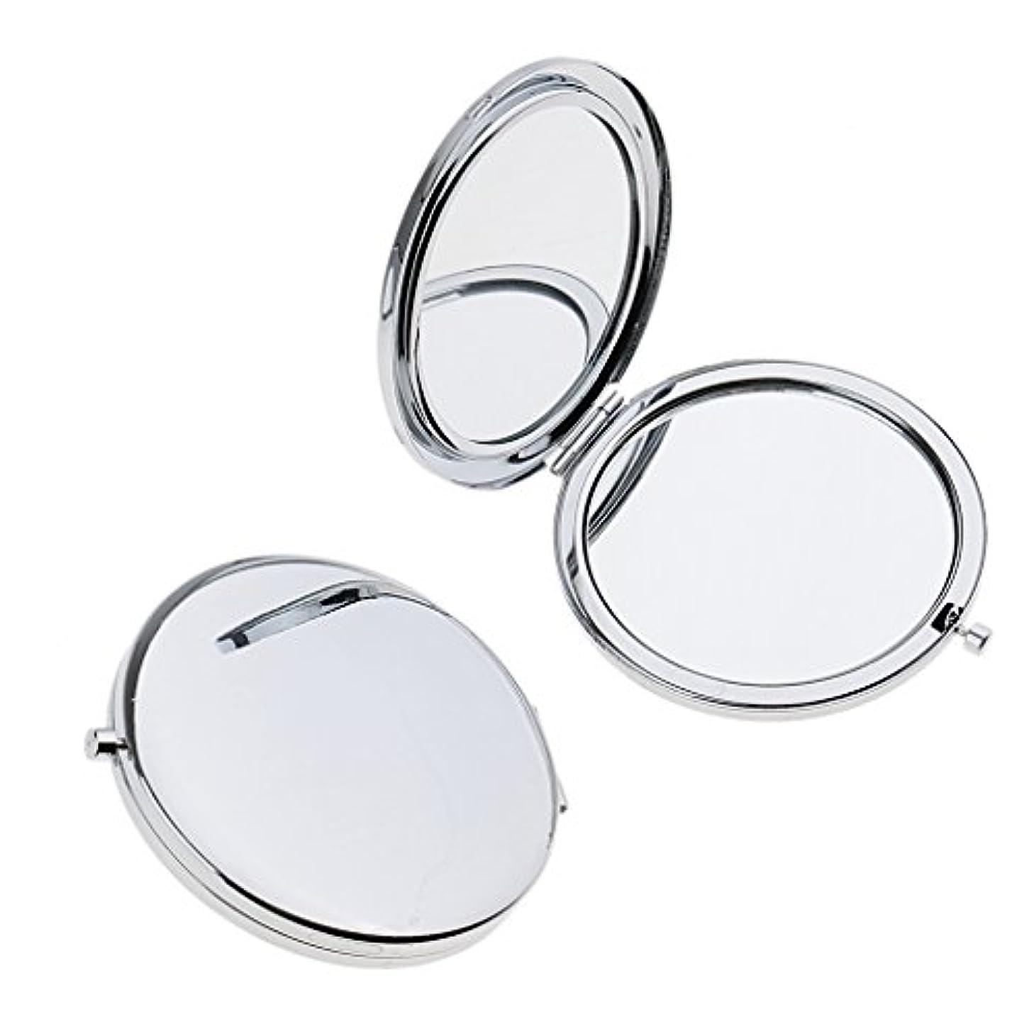 ビジター裂け目バリアT TOOYFUL ミニ手鏡 両面コンパクトミラー ステンレス 折りたたみ式 ハンドミラー 携帯ミラー 2個入り - 銀