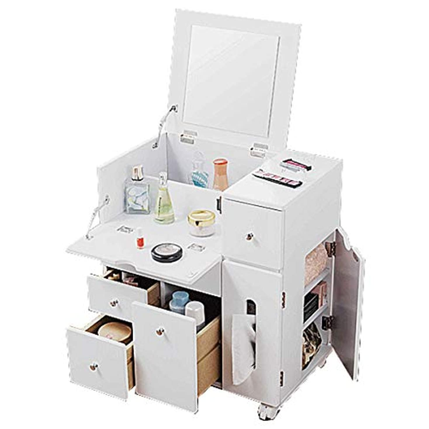 会議責める欲しいです完成品 コスメワゴン コスメボックス 鏡台 ミラー 収納 シンプル 木製 Cosmetics Wagon メイクボックス ホワイト