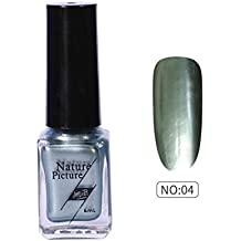 (D) - Yuan Mirror Nail Polish,Metallic Mirror Effect Stainless Steel Solid colour No sequins (D)