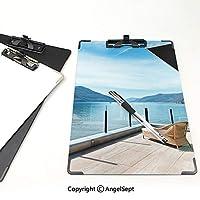 屋外スケッチポータブルスケッチクリップ パティオの装飾 ファイルボード (2個)海と山の風景写真スカイブルーの黒と白のペントハウステラス