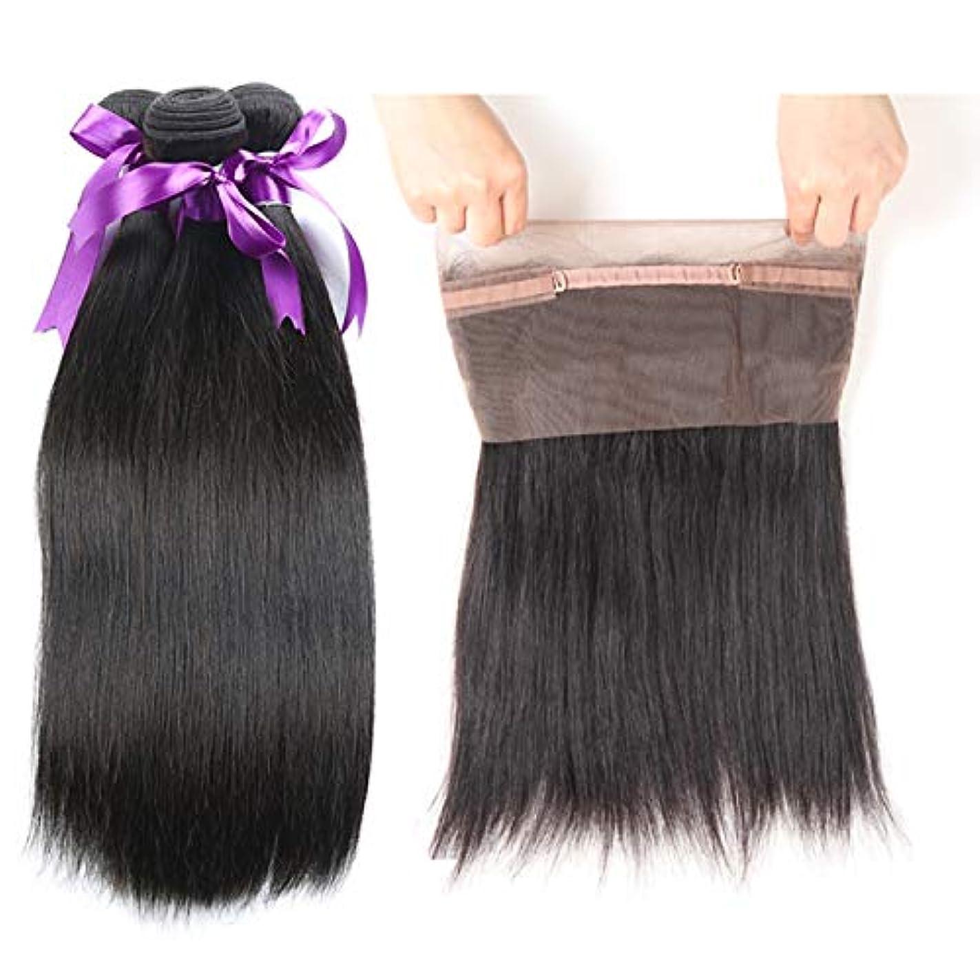 暗くする認識振りかけるかつら ペルーのストレートボディーヘア360束前頭閉鎖3束人間の髪の毛の束閉鎖Non-Remy (Length : 22 24 26 Closure18)