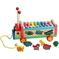 Yousheng 幼児 プッシュ おもちゃ 木製 おもちゃ ミュージカルテーブル Xylophone 幼児 楽器 サウンドトイ 2歳用 (色: D )