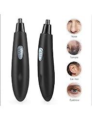 男性用防水鼻毛トリマー、引く鼻の耳の毛のトリマー、電池式、ステンレス鋼デュアルエッジブレード