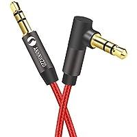 linkinperk 3.5mm AUXオーディオケーブル 片側L型 ステレオミニプラグ/PC/iPhone/Android/スピーカー/AUX有線ヘッドフォン,オーディオ延長ヘッドフォン延長コード