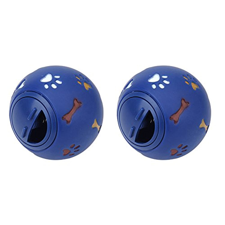 GOGO 2パックドッグトリートメントボールフードディスペンサー インタラクティブトリートメントディスペンスドッグトイ - ブルー - 5.5