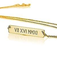 ローマ数字バーネックレス 名入れネックレス スターリングシルバー 18k 金メッキ - お好きな名前をカスタムメイド