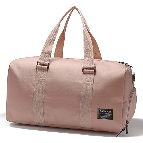 RoLekim ボストンバッグ スポーツバッグ ジムバッグ レディース メンズ 2way ジム通い バッグ トラベルバッグ 2泊 旅行 シューズ収納 防水 軽量 ピンク