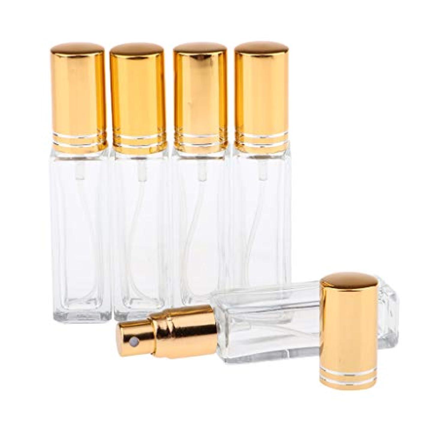 生き物知人立方体SM SunniMix 8ミリリットル 空のスプレーボトル ガラスボトル ポンプスプレーボトル 6色選ぶ 全5点 - ストライプ付き金色キャップ