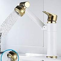 キッチン用水栓金具 現代の工芸品すべて銅洗面台シンク浴室ホームカウンターカウンター洗面台回転浴室キャビネットシングル穴温水と冷水の蛇口 WXL (色 : White gold, サイズ : Standard)