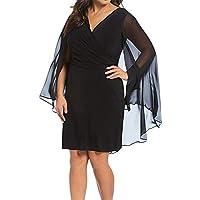 7755e92338a SZIVYSHI Plus Size Cloak Poncho Cape Style Mesh Spliced Deep V Neck Cross  Wrap Front Ruched Midi…