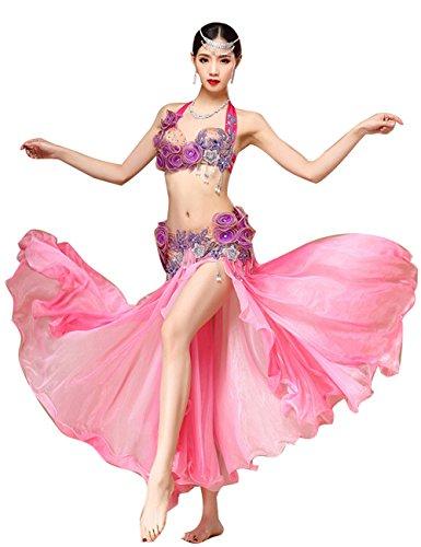 ベリーダンス衣装セット 高級演出服 ステージ衣装 プローダンサー仕様 (ピンク)