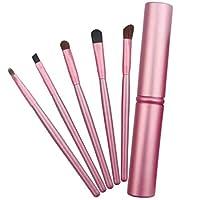 MEI1JIA 5 PCSは、アルミニウム管(ブラック)とアイズメイクブラシセットハンドル (Color : Pink)