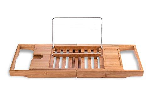 Okuru バスタブトレー バステーブル 伸縮式 バスタブラック ブックスタンド付き 竹製 お風呂用品