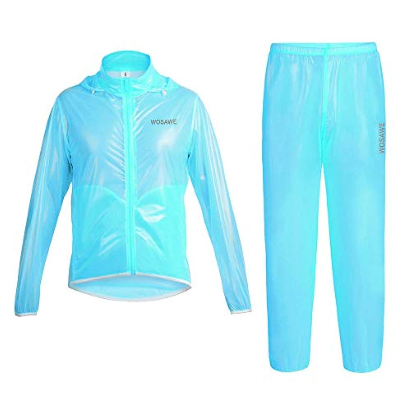 ギャラリーモニカ別れる防水ポータブルレインコート 防水レインジャケット、レインコートフード付きポンチョスーツオートバイレインコートパンツは、アウトドア活動のための保護装置を設定 再利用可能なレインコート (色 : 青, サイズ : L)