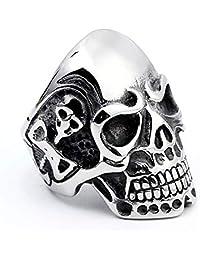 Epinki Stainless Steel Ring for Men Skull Head Silver Wedding Bands