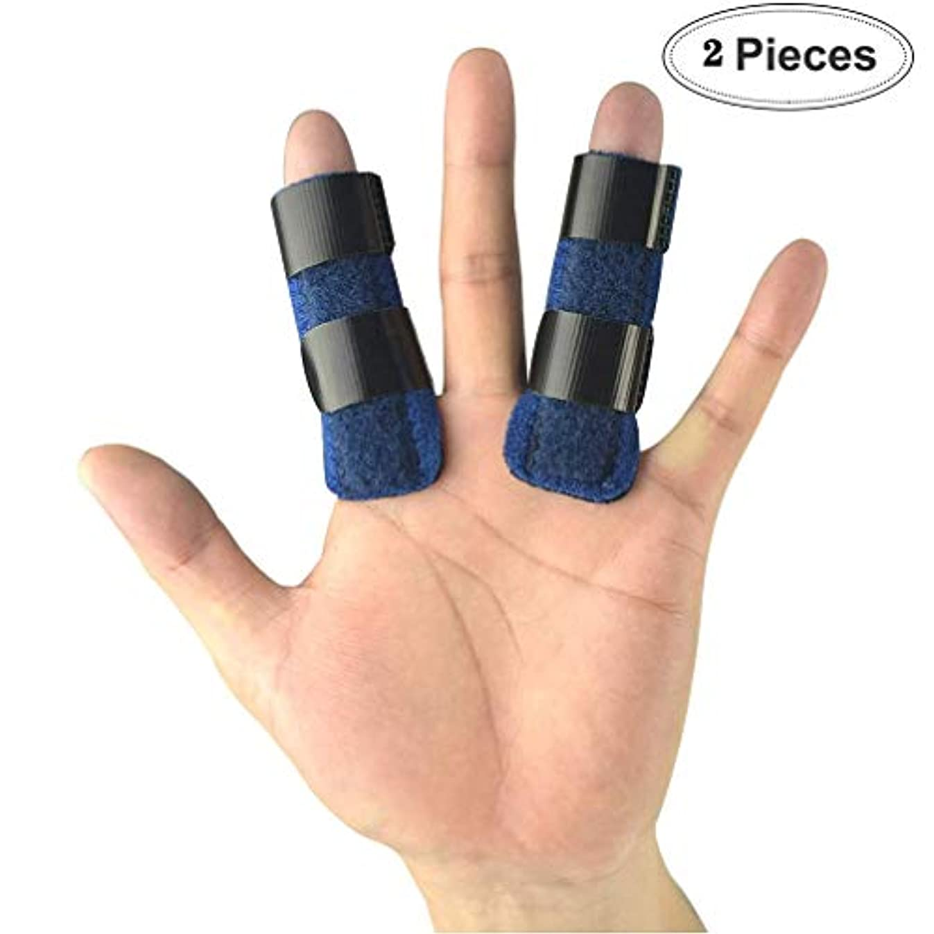 守るいくつかのブリーフケースマレットフィンガー中指、小指の指、関節炎、ブロークン?フィンガー(2パック)用ばね指スプリント、指イモビライザーが内蔵アルミのサポートトリガー、
