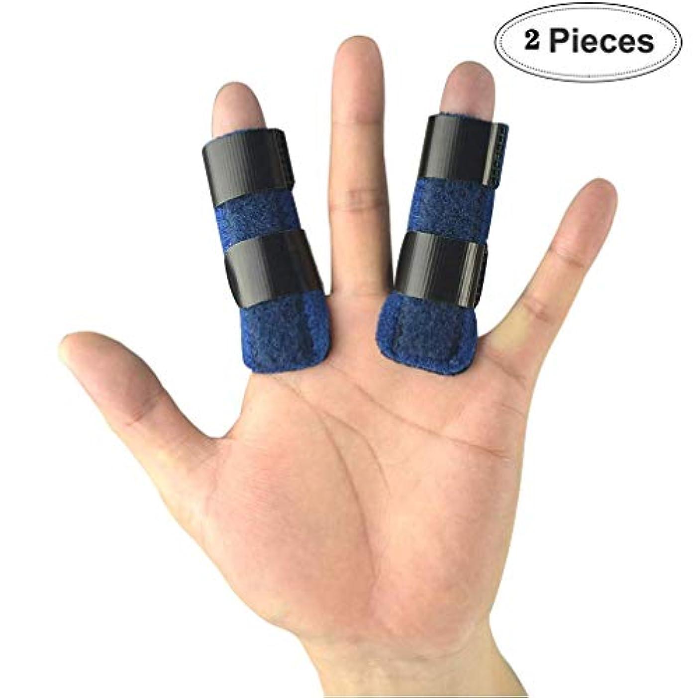 非行ライターアジア人ブロークン?フィンガー(2セット)マレット指中指、小指の指、関節炎のためのビルトインサポートアルミトリガーばね指スプリント、指サポートブレース、