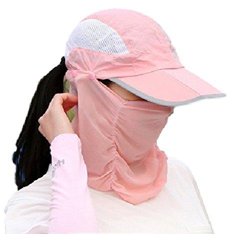 SmartRICH 360度 UVカット 日よけ帽子, 日焼け防止 紫外線対策 帽子 通気 薄地 取り外し 調節可能 UPF50+ フェイスマスク ネックカバー (ピンク)