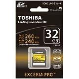 TOSHIBA 高速SDHCカード 32GB EXCERIA PRO UHS-II U1対応 (最大読出速度260MB/s、最大書込速度240MB/s) SD-XU032GA