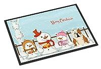 """メリークリスマスキャロルズ英語ブルドッグ子鹿ホワイト屋内または屋外マットBB2456JMAT""""多色 60x40cm"""