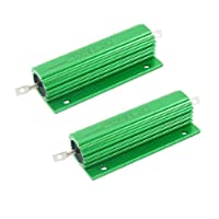 uxcell メタルクラッド抵抗 アルミハウス抵抗器 巻線型 100W 1.2Kオーム 緑 2個入り