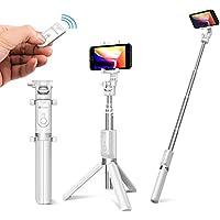 【Humixx】自撮り棒 セルカ棒 三脚&分離可能 ワイヤレスリモコンシャッター 360度回転 iPhone/Android/Goproカメラ対応 (ホワイト)