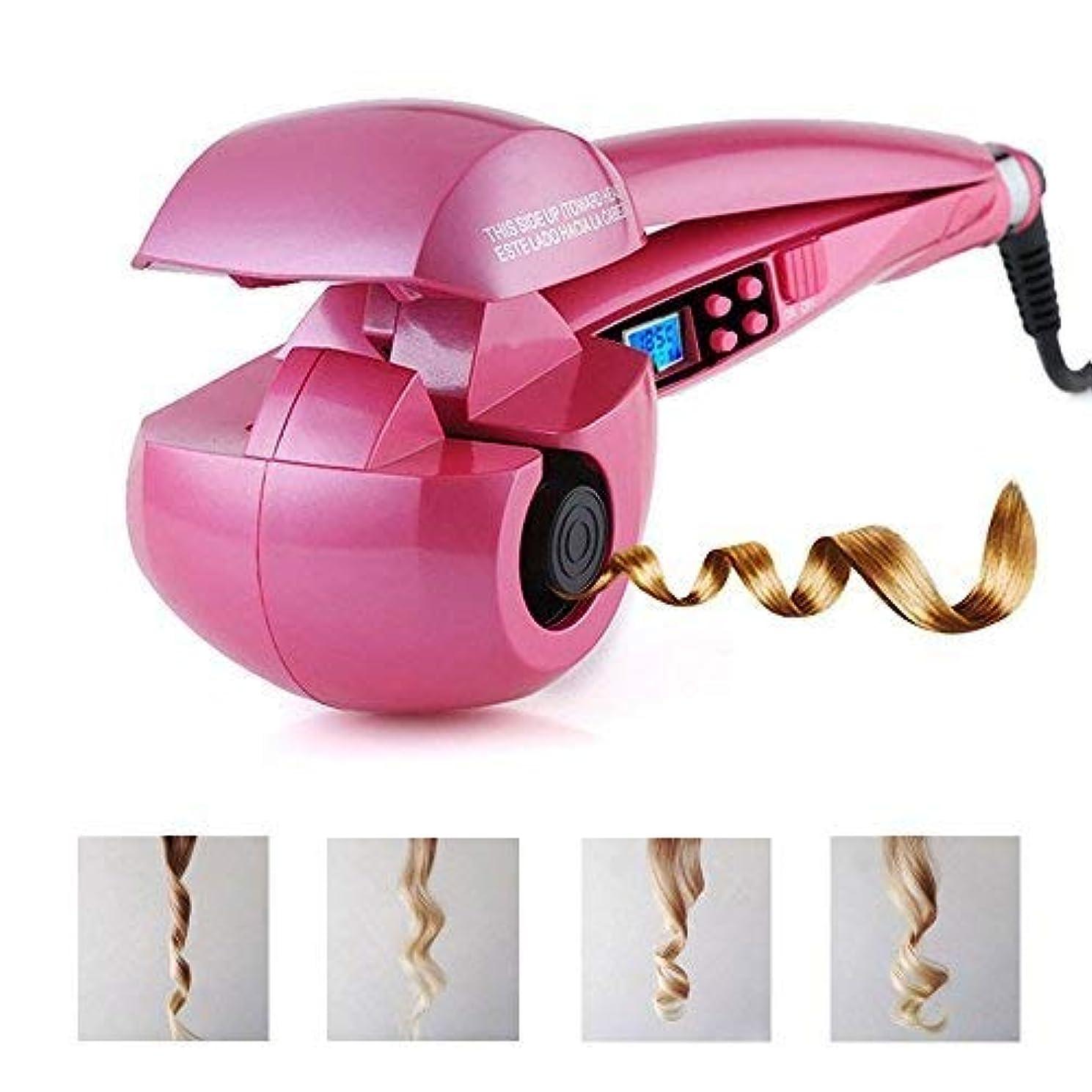 ウィスキーピカリングスモッグオートカールアイロン ミラカール ヘアアイロン 自動巻き コテ ピンク