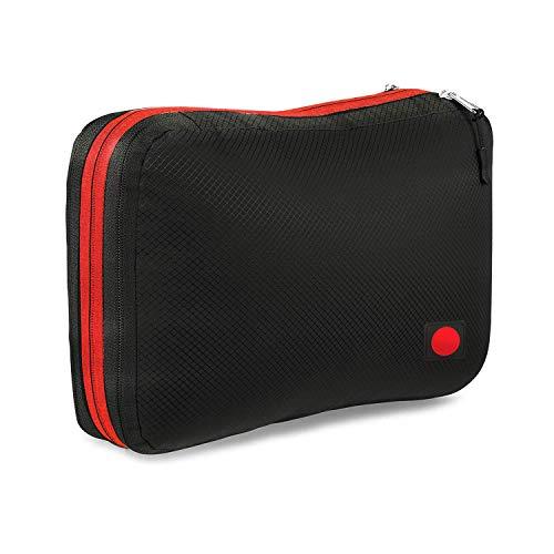 旅行用収納バッグ 超大容量 圧縮バッグ ファスナー 防水 軽量 旅行用 出張 キャンプ (ブラック)