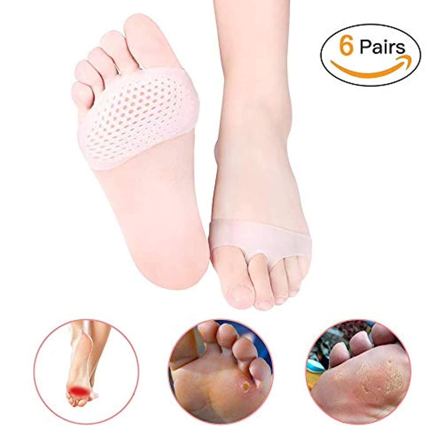 指定するストライド厚いボールオブフットクッションキット女性と男性用中足パッド、前足の痛みを和らげ、大きすぎる靴、ハイキング、ウォーキングに最適White-6 Pairs