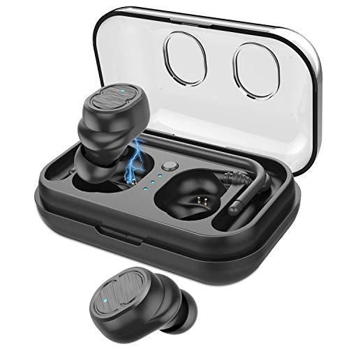 COULAX 【Bluetooth5.0進化版】 Bluetooth イヤホン ワイヤレスイヤホン 完全ワイヤレス AAC対応 Hi-Fi 高音質 IPX7防水 自動ペアリング ノイズキャンセル マイク内蔵 軽量 左右分離型 両耳 Siri対応 IOS/Android対応 充電ケース付き