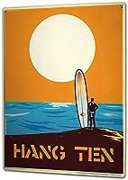 S-RONG雑貨屋 ブリキブリキ 看板レトロ デザイン 20x30cm Sports Surfer Surfboard Sun sea Hang Ten