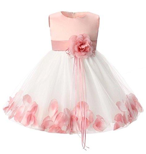 Effiku(エフィック)ベビー キッズ 花びらドレス フォーマルドレス セレモニー 女の子 70cm-130cm (S70cm, ピンク)
