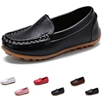 SOFMUO Kids Boys Girls Leather Loafers Slip-On Oxford Flats Boat Dress Schooling Daily Walking Shoes(Toddler/Little Kid)