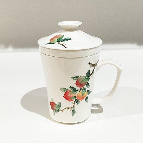 絵柄つき茶漉しマグカップ 桃柄
