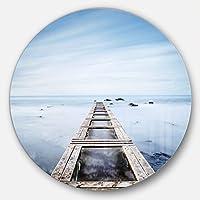 DesignArt mt11346-c11木製Jetty Morningブルー海の風景円の壁アート – Disc 11、ブルー、11 x 11